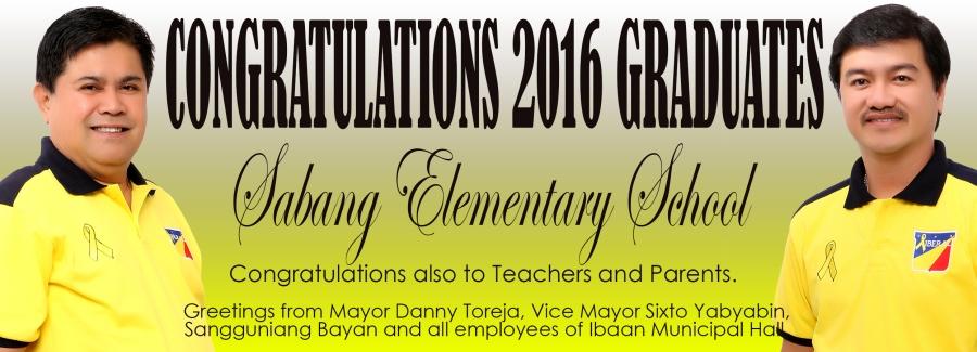 sabang elementary school graduates 2016 mayor danny toreja vice mayor sixto yabyabin
